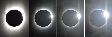 The total solar eclipse and Baily's Beads of solar eclipse are seen in Jiujiang, east China's Jiangxi Province, in this combo photograph taken respectively at 9:29:54, 9:30:04, 9:30:25 and 9:30:37 (from L to R) a.m. on July 22, 2009.(Xinhua/Zhang Wu)
