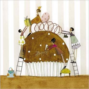 Ladies Sharing Birthday Cupcake by Silke Leffler