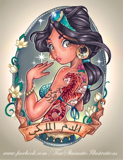 Jasmine Tattoo-Style Disney Princesses by telegrafixs.deviantart.com