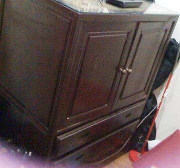 Wooden 2-Door TV Cabinet @ RM300 - side view