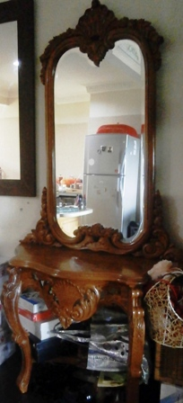 Carved, hardwood Vanity Table c/w Mirror @ RM550