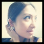 PC in Wanderlust Circle Pearl and Diamante Earrings