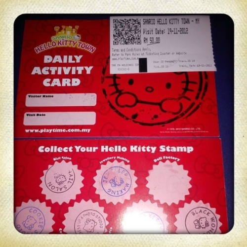 Daily Activity Card at Hello Kitty Town Malaysia