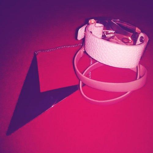Pink leather cuffs